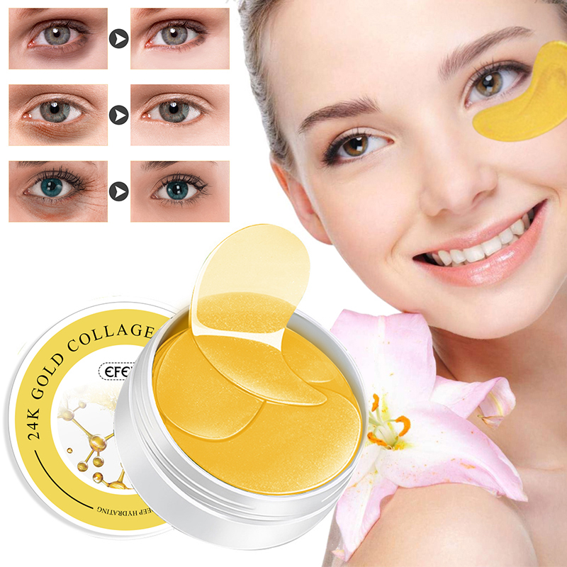 EFERO 60pcs/box Collagen Eye Mask Anti-Puffiness Anti-Aging Hyaluronic Acid Moisturizing Remover Dark Circles Eye Patches TSLM1