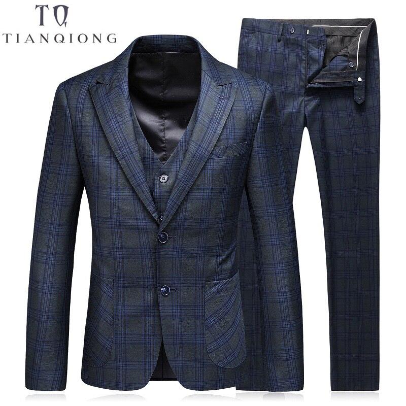TIAN QIONG Mannen Suit (Jassen + Broek + Vest) 2018 Mode Man Pak Slanke Blauwe Plaid Twee Knop Wieden Bruidegom Suits Kostuum Homme Smoking-in Pakken van Mannenkleding op AliExpress - 11.11_Dubbel 11Vrijgezellendag 1