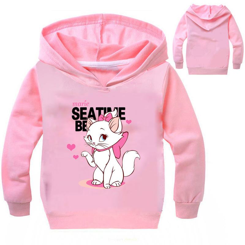 Z&Y 3-16Years Marie Cat Clothes Long Sleeves Hoodies for Girl Aristocats Cat Sweatshirt Cute Baby Bomber Bobo Jacket NO7665