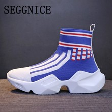 SEGGNICE Women Sock Boots Platform Flat Ankle Boots Women's Shoes Knitting Stretch Mixed Colors Fashion 2019 Female Shoes Boots цены онлайн