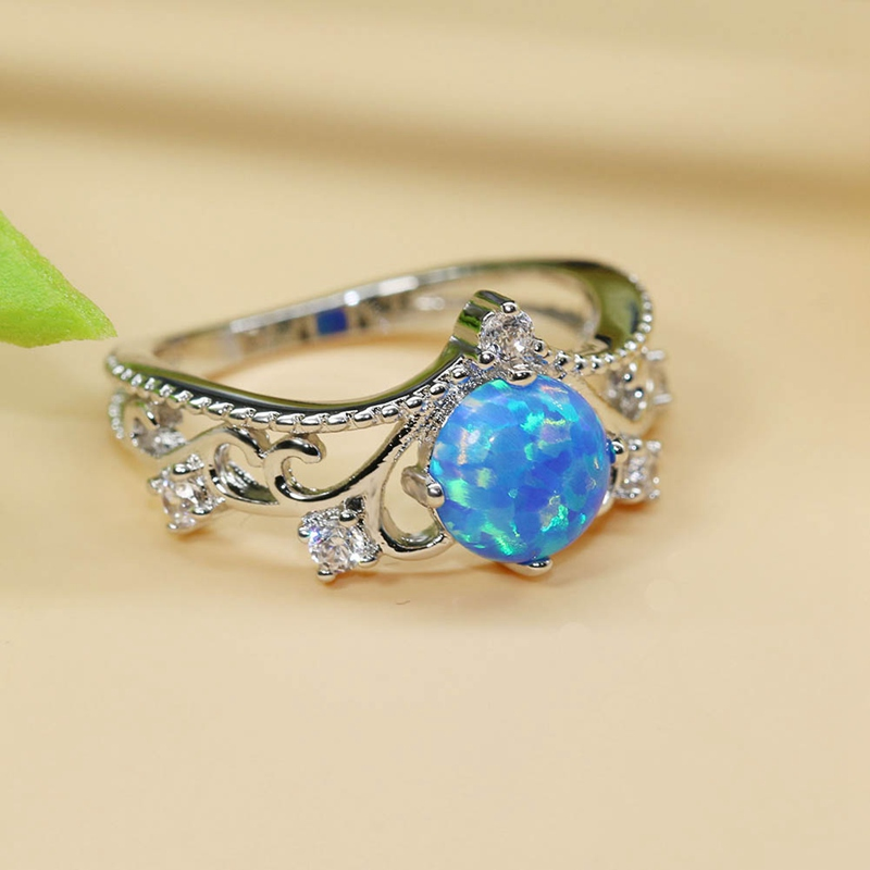 Elegant Heart Cut Blue Crystal Ring Fashion Wedding Jewelry Filled Engagement Promise Rings