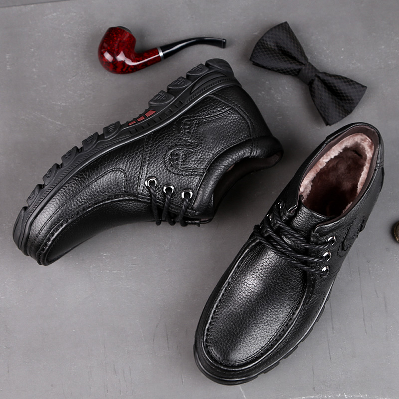 2018 Новая зимняя мужская обувь; Повседневная Классическая обувь из натуральной коровьей кожи; цвет черный, коричневый; Мужская молодежная во... - 6