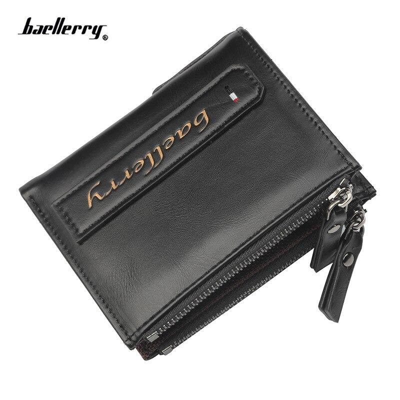 Hot!! baellerry Men Wallets Credit Business Card Holders fashion Double Zipper Leather Wallet vintage short Purse Carteira
