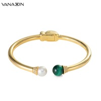 VANAXIN 925 Sterling Silver Bangle&Bracelet for Women High Quality Charms Jewelry Classic 2019 Gold Color Birthday Gift Box Pack