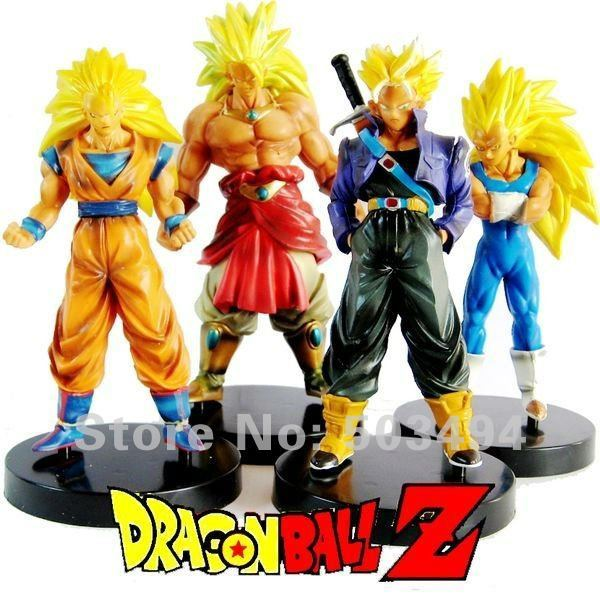 New Dragon Ball Z DBZ Super Saiyan 3 Goku Figures 13 CM Set of 4 Free Shipping