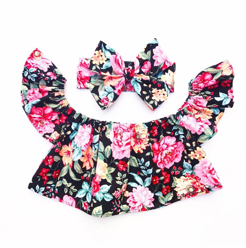 Cute Newborn Kids Baby Girls Clothes Off Shoulder Floral Tops+Headband 2Pcs Outfits