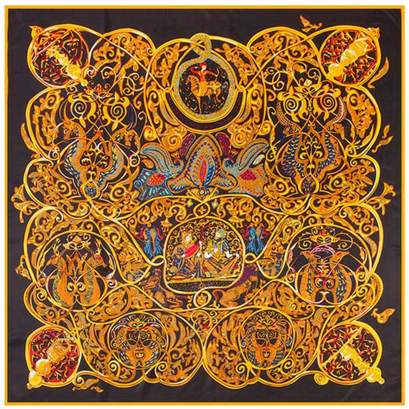 Bufanda de mujer de seda de sarga de moda 130 * 130 Euro Mil y una noches Imprimir Bufandas cuadradas Wraps Marca Calidad Regalo Chales de seda grandes