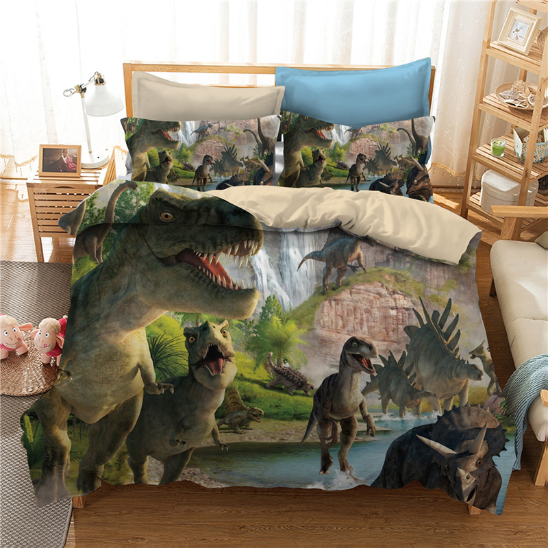 Dinosaur Children's Bedding Set Jurassic Age Duvet Cover And Pillowcase Set Kids Boys Bedroom Decoration Bed Linen Set