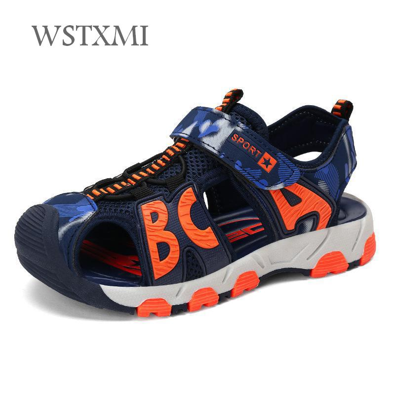 New Summer Beach Boys Sandals for Children Shoes Pu Leather Kids Close Toe Casual Sandals Flats Fashion Breathable Mixed Color