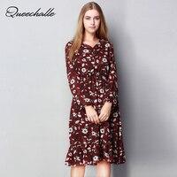 Summer Dress Women S V Neck Long Sleeve Big Size Chiffon Dress Elastic Waist Ruffles Dress