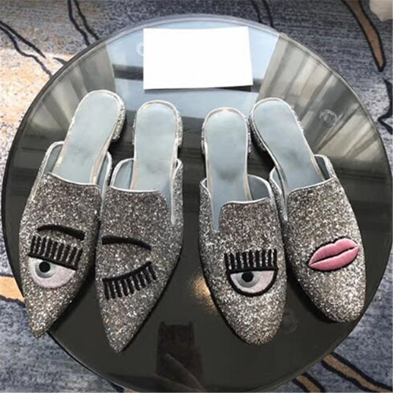 Eyes Lips Mules Pointed Toe Flats Shoes Woman Bling Sandalias Mujer Glitter  Wedding Ladies Shoes Sequin 42f206a98f97