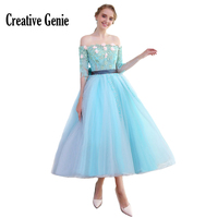 Leading Short Prom Dress Ball Gown Ankle Length 2018 New Elegant Tulle Prom Dresses 2018 Mint Green Party Gowns For Women