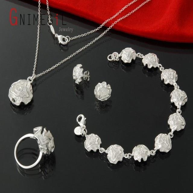 Gnimegil Women Fashion Silver Plated Retro Rose Flower Jewelry Set Necklace Earrings Rings