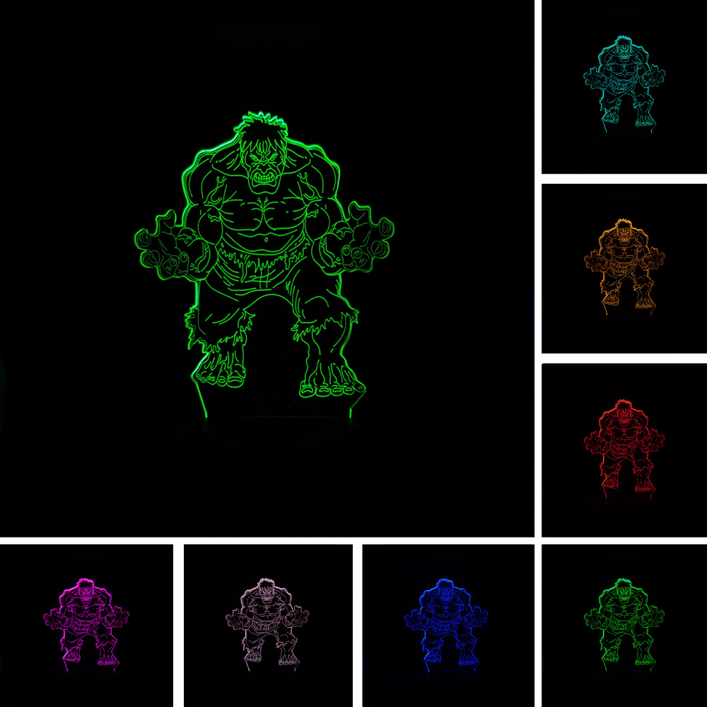 Marvel's The Avengers Super hero Creative 3D Hulk Night Light Acrylic Colorful Gradient LED Lamp Desk Table Light Boy Kid Gifts the totally awesome hulk vol 3