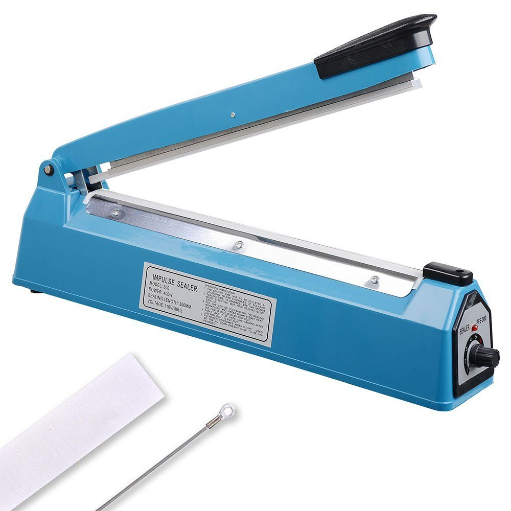 12 300mm Impulse Manual Hand Sealer Heat Sealing Machine Poly Tubing Plastic Bag w/ Spare Teflon & Sealing Elements portable impulse bag sealer 110v 300w heat sealing impulse manual sealer machine poly tubing plastic bag household tools hot