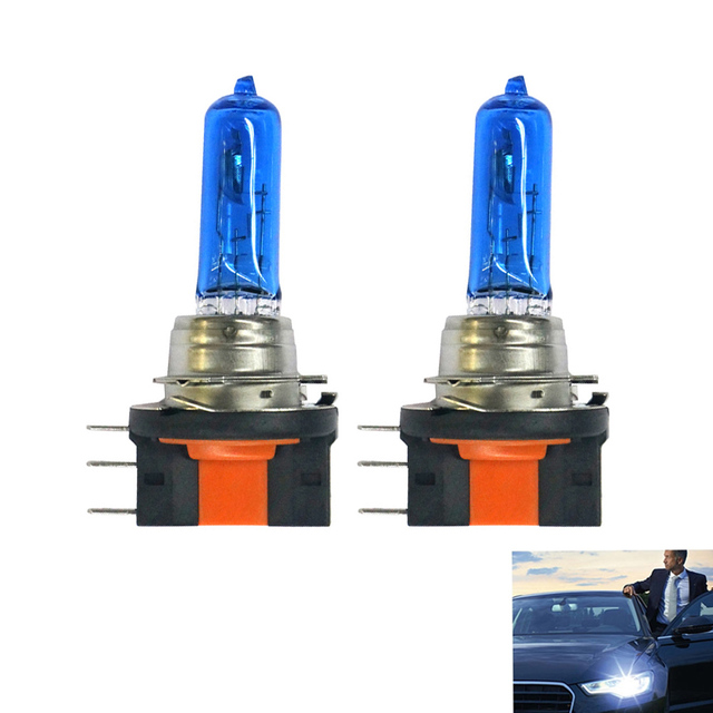 2PCS H15 Lamp 12V 15/55W Car DRL Headlight XENON Halogen Bulb Super White 6000K Daytime Running Lights Front High Beam PGJ23t-1