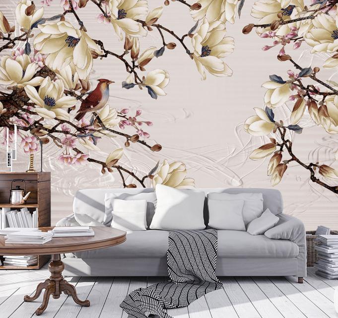 Белый цветок обои пользовательские 3 D стерео Nordic современный фона рабочего стола настенные фрески Гостиная Исследование цветок росписи об...