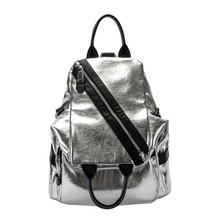 Soft Leather Women Backpack Split Leather Travel Backpack Silver Mochila School Bags Women High Quality Designer Backpacks