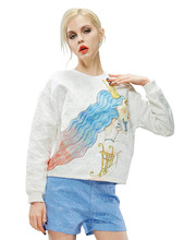 ELF SACK fashion brand new arrival 2015 spring women loose royal print cartoon pattern pullover sweatshirt set free shipping