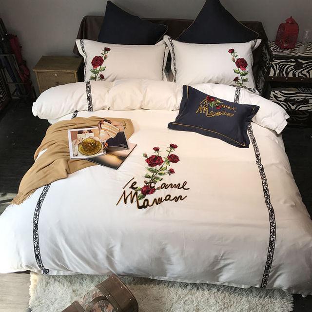 Neue Bettwäsche Set ägyptischer Baumwolle Bettwäsche Rose Stickerei