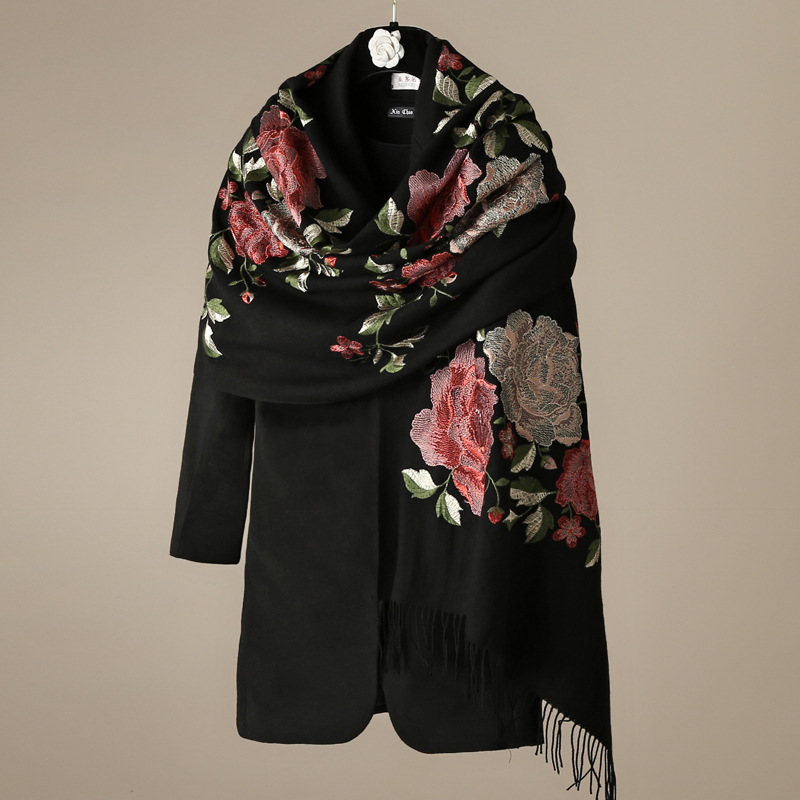 100 Wool Scarf Boutique Embroidered Peony Luxury Women Autumn Winter Warm Coat Scarves Shawl 190 60cm