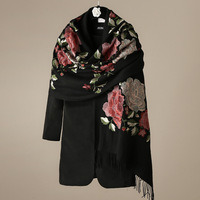 100% Wool Scarf Boutique Embroidered Peony Luxury Women Autumn Winter Warm Coat Scarves Shawl 190*60cm
