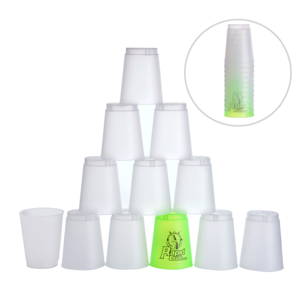 12 PCS/Set Quick Stacks Rapid Cups with a stem Fast Reaction Stacking Speed Training cups Indoor Game For Children Adults Toys