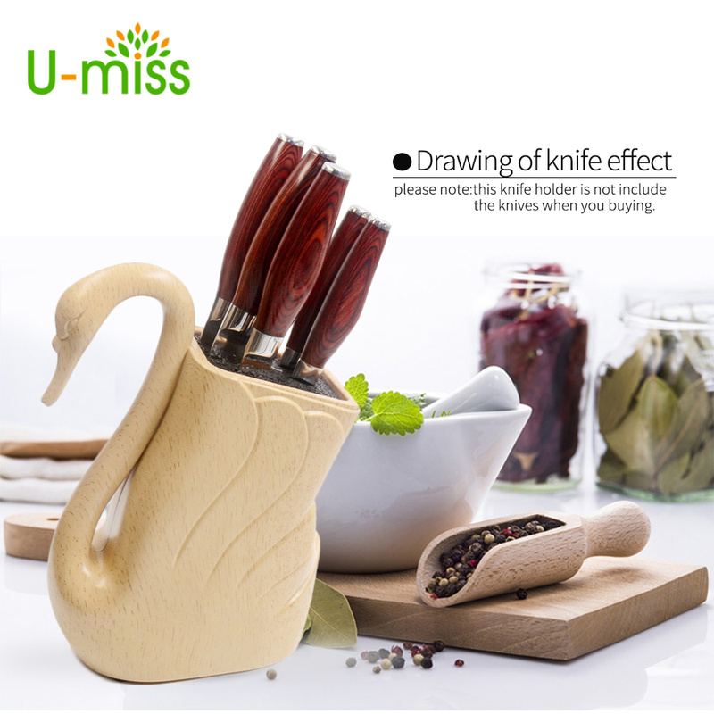 Plastic Knife Holder ABS+TPR Handmade Kitchen Knives Stand Big Capacity For Scissors Knives Cooking Accessories For Kitchen