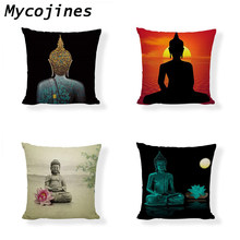 Buddhism Element Cushion Cover Buddha Icon Deity God Lotus Bamboo Sunset 1 Side Print house Living Room Sofa Decor Pillow Cases(China)