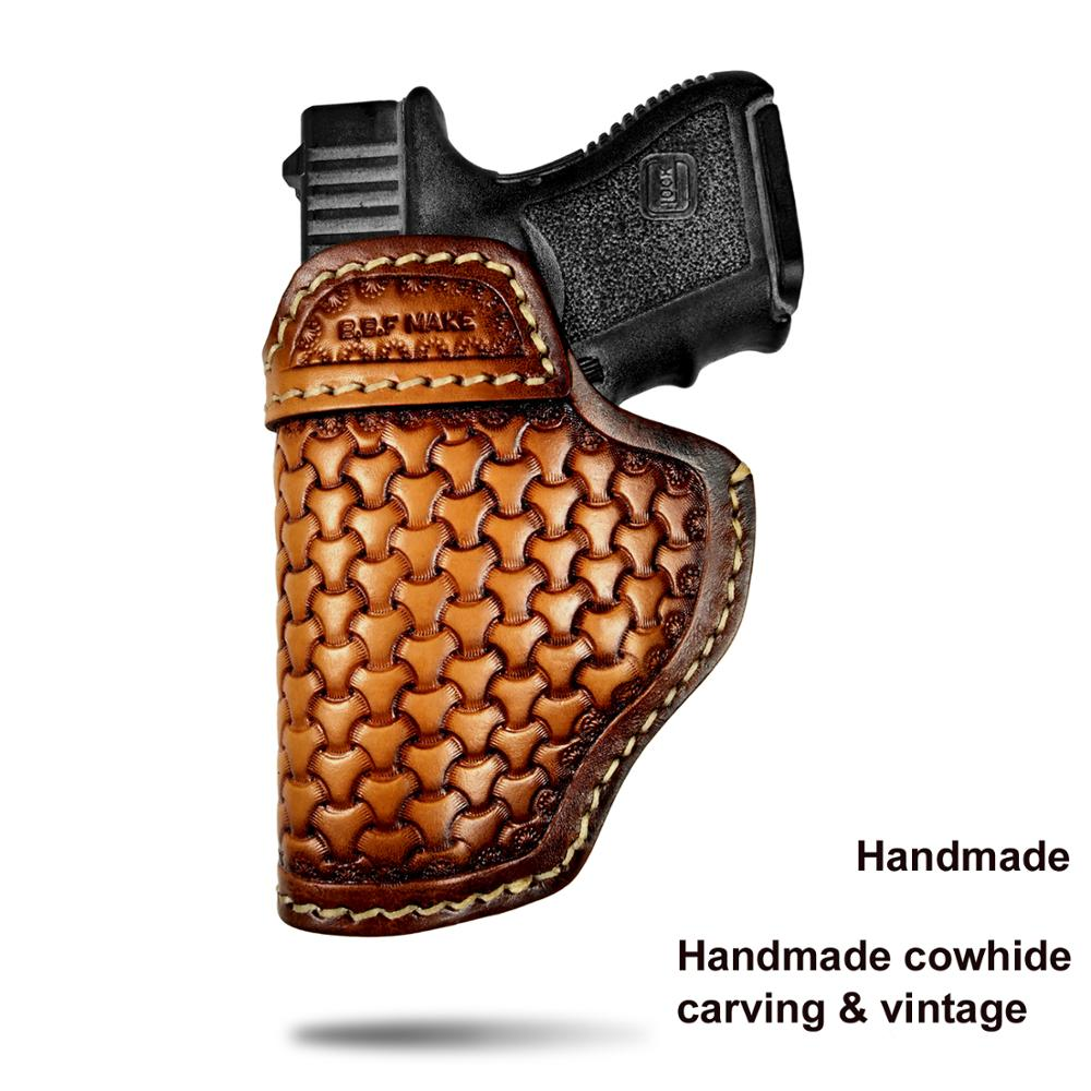 B.B.F Make Gun Holster Leather Handmade Pistol case for M&P Shield Glock 17 19 22 23 25 26 27 32 33 42 43 / Springfield XD-S IWB