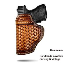 B.B.F Make Gun Holster Leather Handmade Pistol case for M&P Shield Glock 17 19 22 23 25 26 27 32 33 42 43 / Springfield XD-S IWB недорого