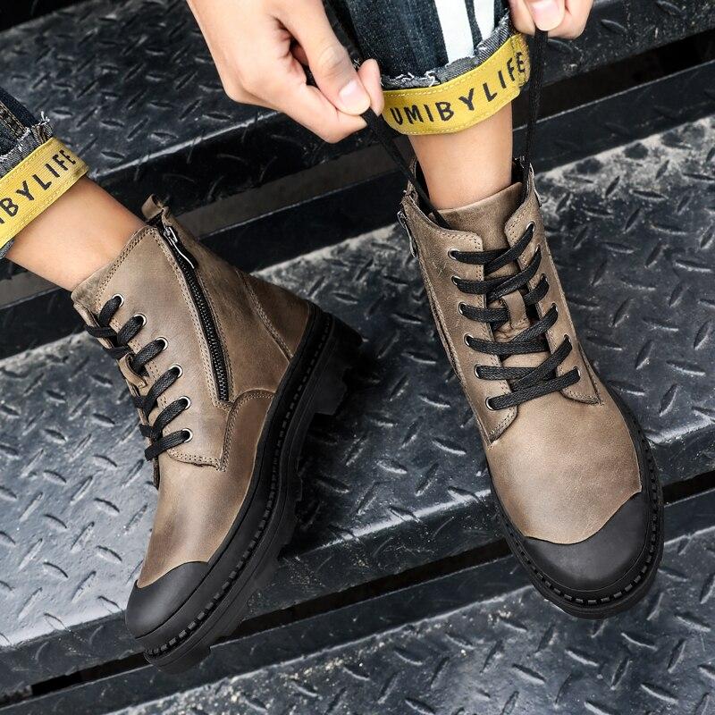 Martin Rendas K3 De Ar Homem Homens Black Genuíno Da brown Couro Outono Boot Moda Ao Livre Até Dos Ankle Botas Primavera Sapatos Tendências HpRFRq7w