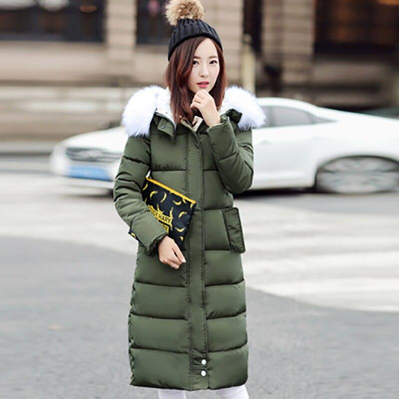 Ll0348 Grand À Col Fourrure army Noir Green Mince Rembourré Mode Femmes Chaud Parka Nouvelle Manteau Coton Outwear Capuche gris Veste 2018 Bleu Hiver Longues marine De Oversize p6AxqwRC