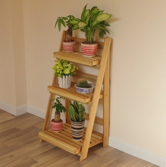 Wood Flower Pot Stand Furniture Plant Vintage Wooden Shelf Planter Home Storage Kitchen Organization Holders
