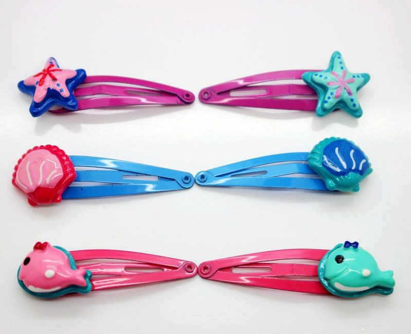 Fashionable sea series kids snap hair clip hairpins cute starfish/shell/shark lovely girls hair accessories 12 colors cute girls hairpins children elsa side knotted clip hairpin hair clip small size hair accessories