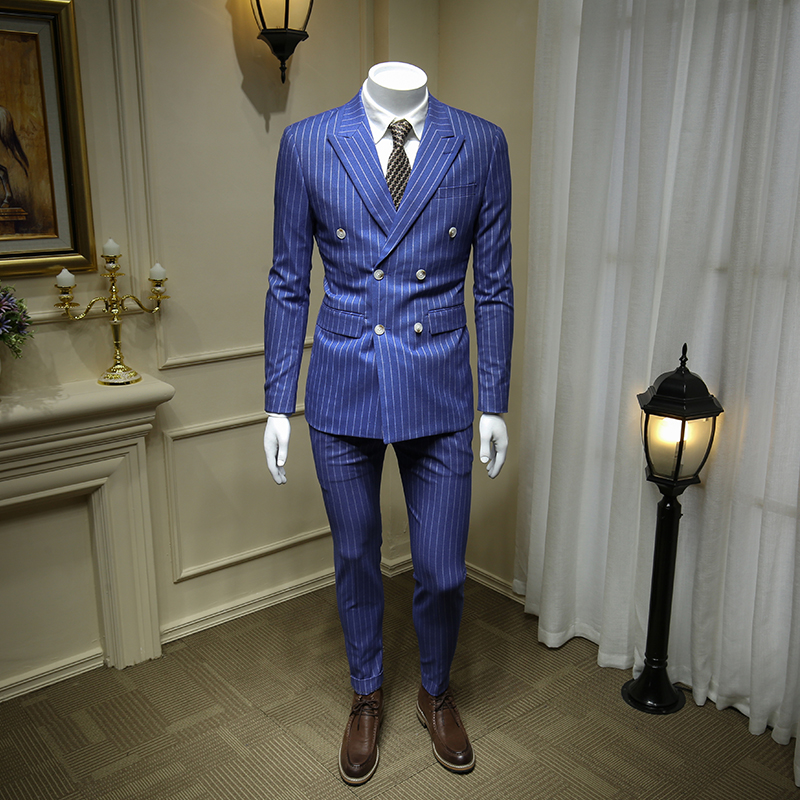 XM GEEKI European And American Gentleman Sky Blue Double-breasted Men's Suits British Business Dress Striped Suit Blazer 365tz43