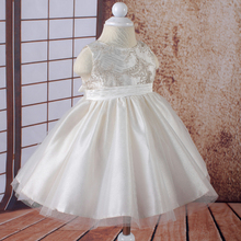 Free Shipping 6-24 Month Infant Dresses Gold Embroidery Tulle Beige Baby dress For Girl brithday Ivory Lace Toddler Ball Gowns