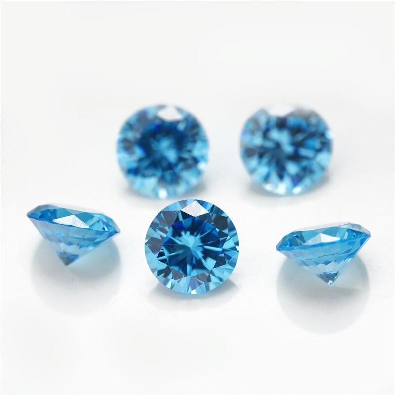 Taille 1 ~ 10mm 5A couleur bleu mer CZ pierre ronde forme cubique zircone pierre pierre synthétique à vendre