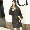 Mulheres jaqueta de inverno 2016 novo espessamento Longo outerwear para baixo algodão-acolchoado jacket parka amassado jaqueta casaco de inverno roupas femininas