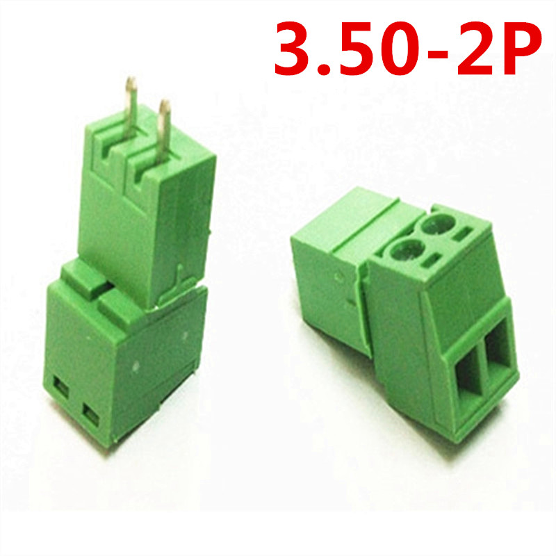 10 sets 2 Pin PCB Electrical 15EDG-3.5mm Pitch Pluggable Type Plug-in Screw Terminal Green Block Connector pin header and socket
