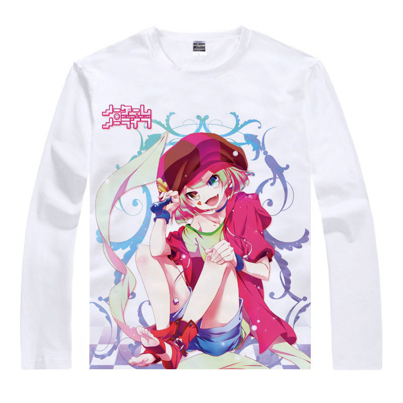 No Game No Life T-Shirt Blank Shirt fashion Long sleeves t-shirts men anime cosplay costume T Shirts japanese anime cosplay a