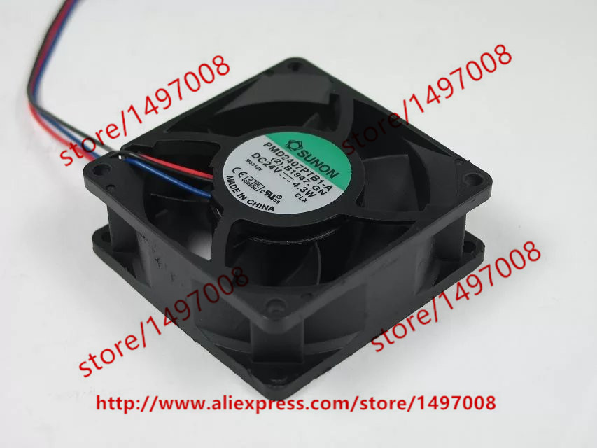 Free shipping For SUNON PMD2407PTB1-A (2).B1947.GN DC 24V 4.3W 3-wire 3-pin connector 70X70X25mm Server Square Cooling Fan 24 2407