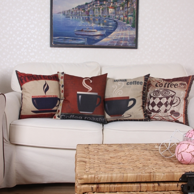 2017 Home Decoration Pillow Sofa Cushion Cover Coffee Pattern 45x45cm Modern Cushion Cover Car Pillow Outdoor & 2017 Home Decoration Pillow Sofa Cushion Cover Coffee Pattern ... pillowsntoast.com