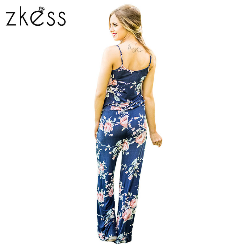 34523ad0dabb ZKESS Summer Jumpsuit Women Floral Wide Leg Rompers Spaghetti Strap Long  Playsuits Casual Beach Long Pants Jumpsuits Overalls
