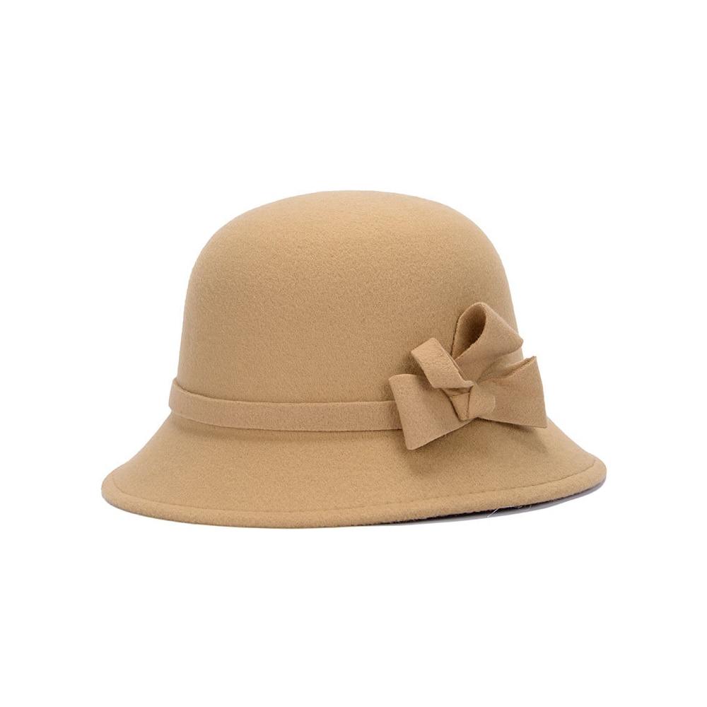 Широкополая шляпа винтажные шляпы дамская шляпа с бантом Повседневная шерстяная зимняя фетровая шляпа Регулируемая пляжная дорожная - Цвет: camel