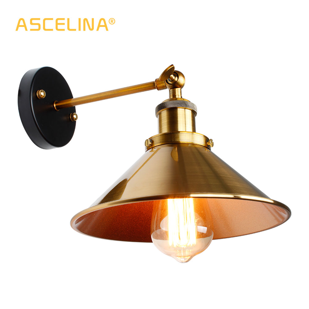 new concept 4e891 239d4 US $13.49 40% OFF|Vintage Loft Led Wall Lamp For Home Industrial Decor  Retro Bathroom Lighting Iron Lampshade E27 Edison wall Light Fixtures-in  LED ...