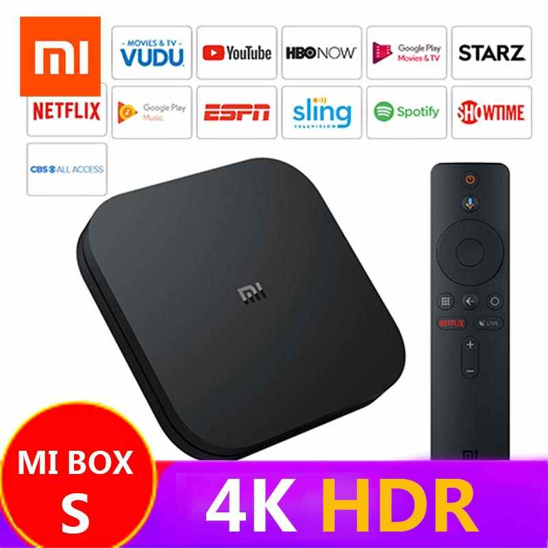 Xiaomi mi tv box s 4 k hdr, versão global, 8.1, ultra hd, 2g, 8g, wifi jogo inteligente netflix google cast, iptv, player de mídia