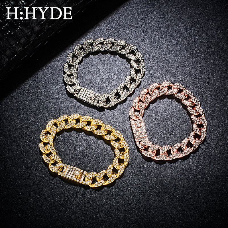H:HYDE Men's Bracelet Hip Hop Miami Cuban Link Gold Silver Color Iced Out Paved Rhinestones Male Wristband Street Jewelry