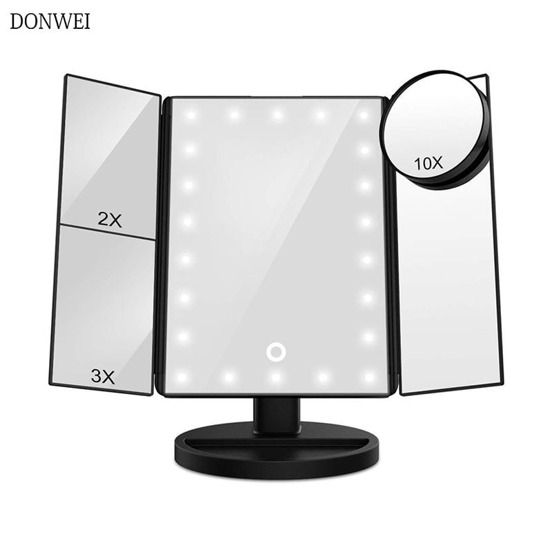 22 LED Touch Screen Light Makeup Mirror Table Desktop Makeup 1X/2X/3X/10X Magnifying Mirrors Vanity 3 Folding Adjustable Mirror