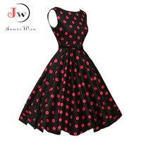 Women Summer Dress 2017 Polka Dot Retro Vintage 50s 60s Casual Party Office Robe Rockabilly Dresses